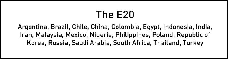 The top 20 emerging economies: Argentina, Brazil, Chile, China, Colombia, Egypt, Indonesia, India, Iran, Malaysia, Mexico, Nigeria, Philippines, Poland, Republic of Korea , Russia, Saudi Arabia, South Africa, Thailand, and Turkey