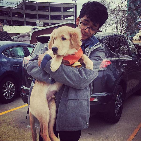 Shantanu Naidu with his dog Winter