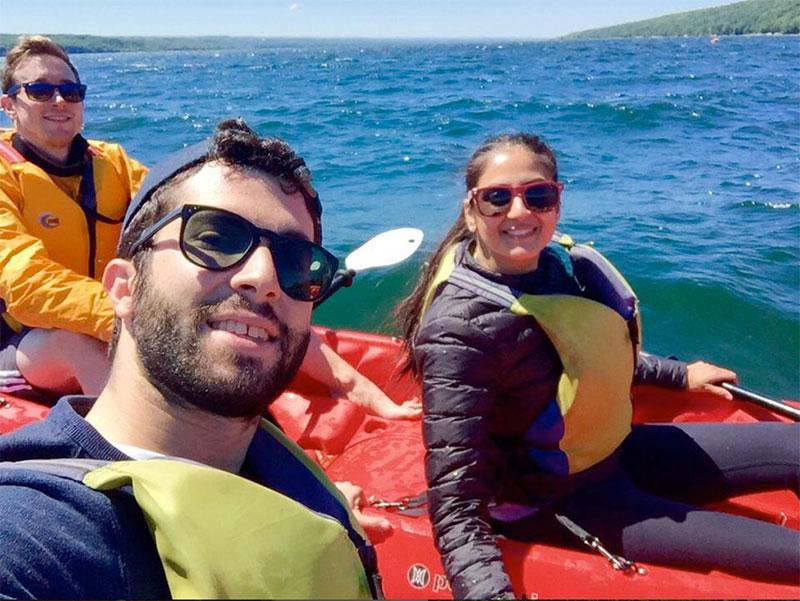 Neha Saini, One-Year MBA '18, take a kayak trip on Cayuga Lake