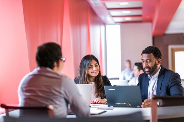 Johnson MBA students studying