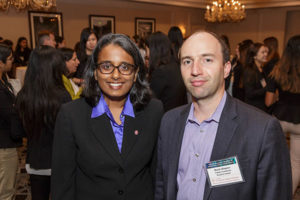Lakshmi Bhorjaj, Breazzano Family Executive Director of the Parker Center for Investment Research, with Boris Shepov, research analyst for Fidelity Investments.