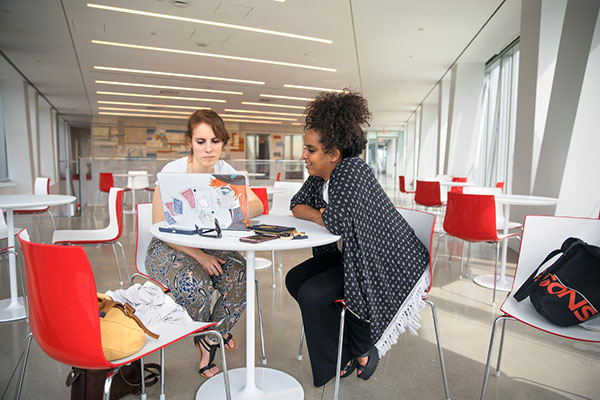 Students work in the Bloomberg Center at Cornell Tech.