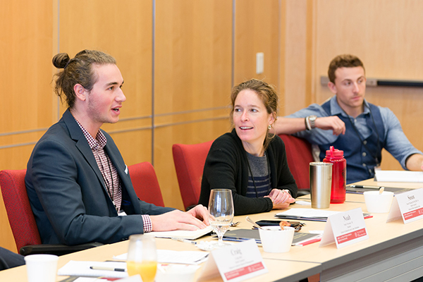 Image of Susan Fleming (center), senior lecturer at the Hotel School, participating in the entrepreneurship roundtable.