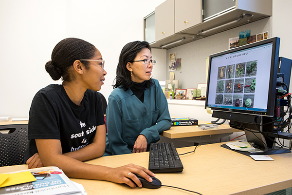Image of Dejah Powell '18 (left) and Nancy Chau, Dyson professor (right); Powell launched Greening Chicago with the help of the S2 Scholars Program
