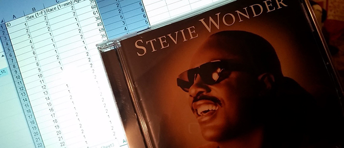 Photo of Stevie Wonder album and coursework
