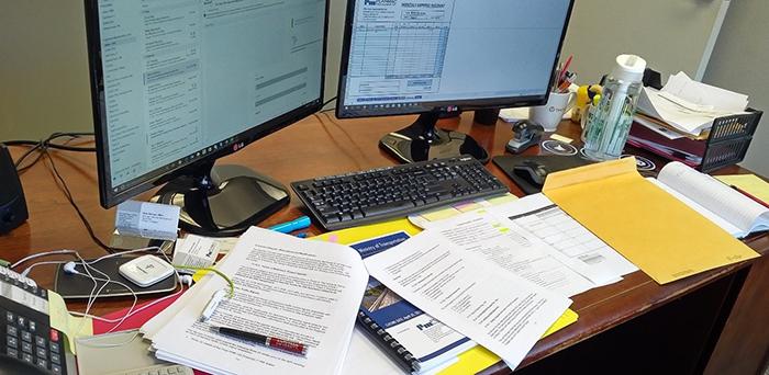 Photo of Beth's messy desk