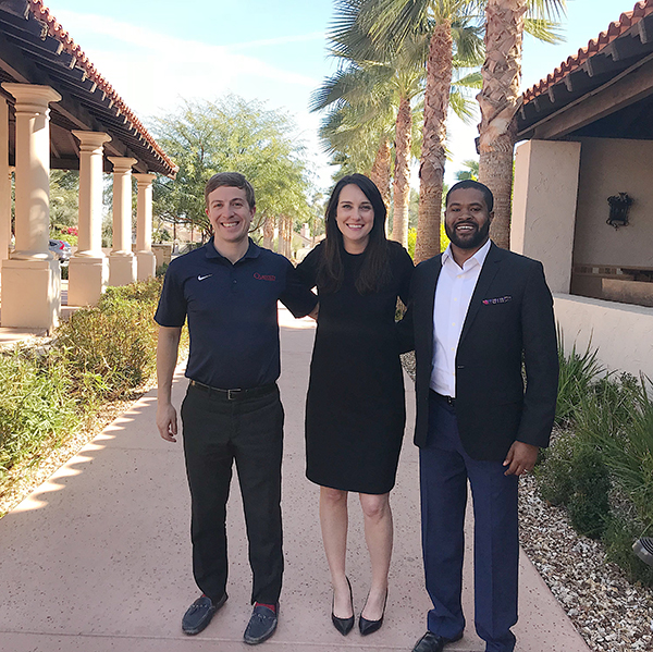 Photo of Catherine with two classmates in Arizona