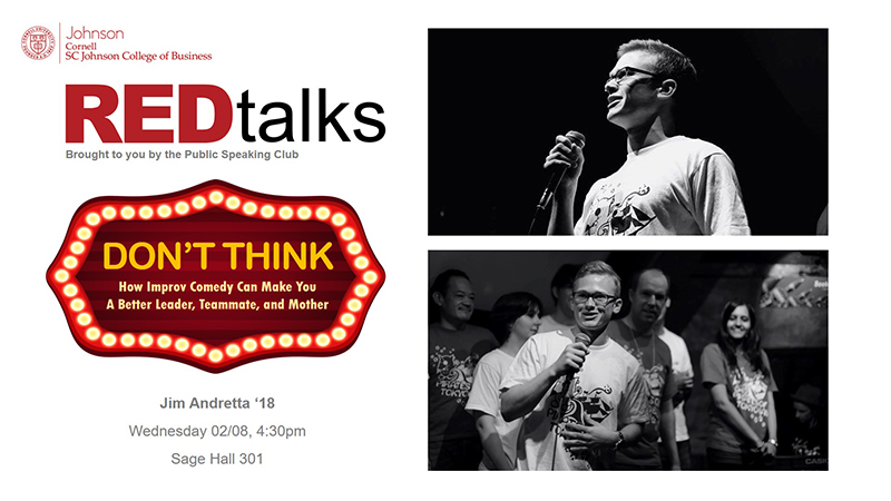 Flyer for Jim Andretta's REDtalk with two photos of him and its title: Don't Think: How Improv Comedy Can Make You A Better Leader, Teammate, and Mother