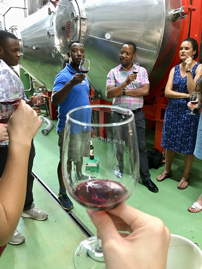 Photo of a wine glass and group of wine tasters