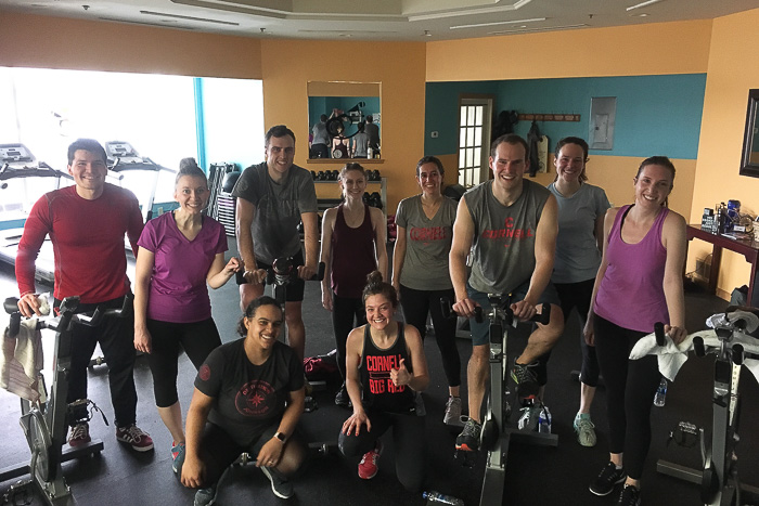 Photo of a group of students after a workout at spin class