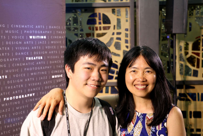 photo of Perry Chen and Zhu Shen at the 2018 National YoungArts Week Cinematic Arts Program in Miami following the premiere of 'Changyou's Journey'