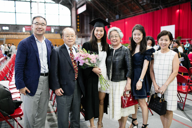 Photo of a graduate and her family