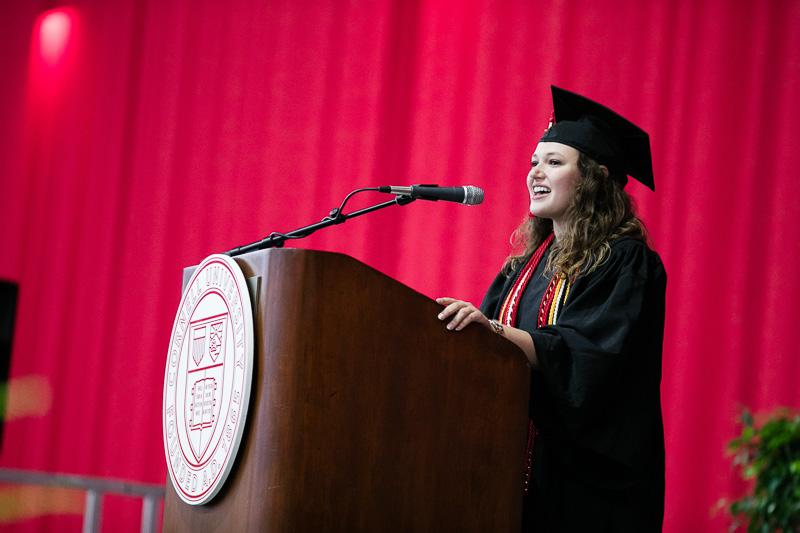 Photo of Kayti Stanley at the podium