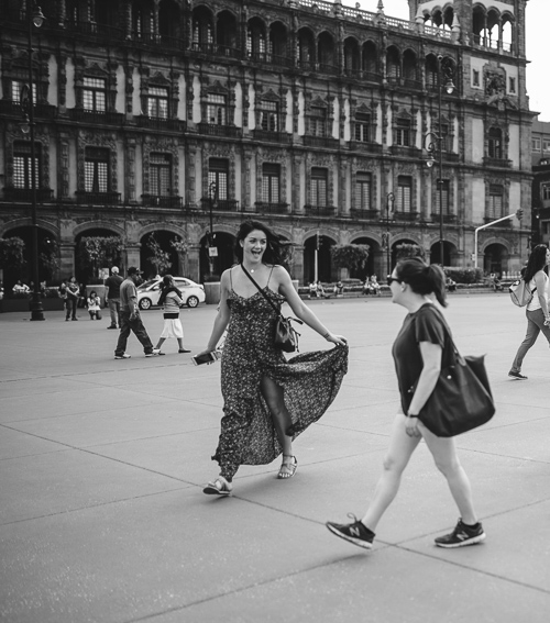 Black and white photo of Mandy in Mexico square