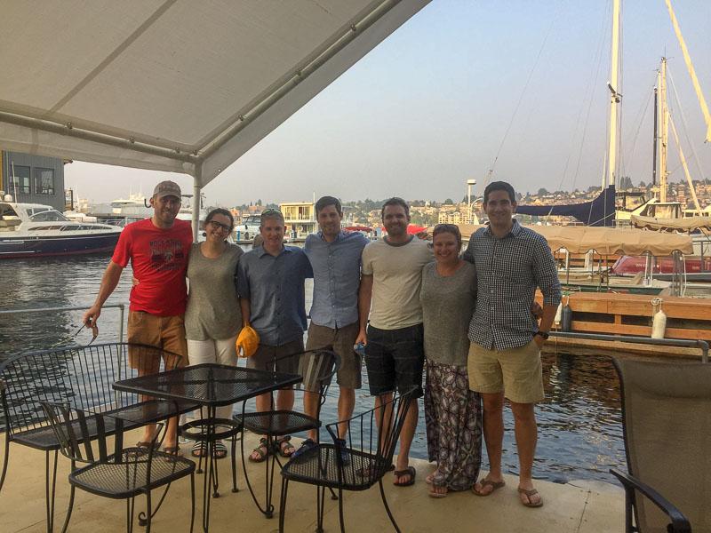 Photo of a group at a marina/restaurant