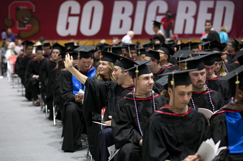 Photo of walking graduates