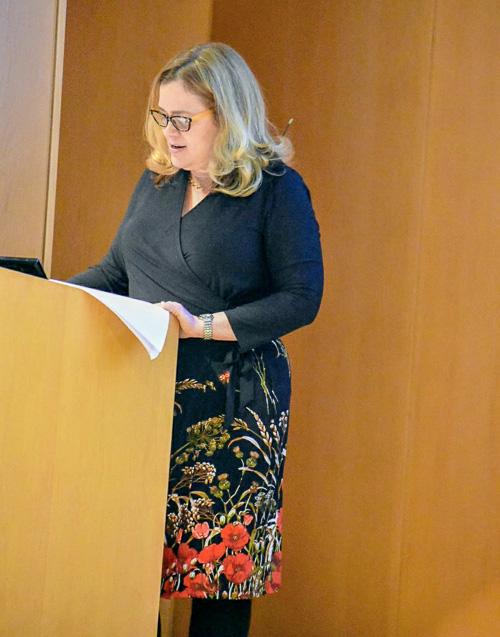 Photo of Risa Mish at the podium