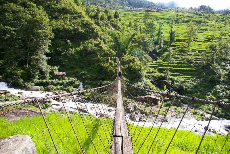 Photo of a high, long, narrow foot bridge over green areas and water