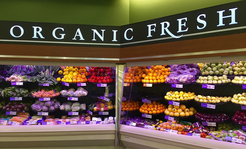 "Photo of a grocery store produce section labeled ""organic fresh"""