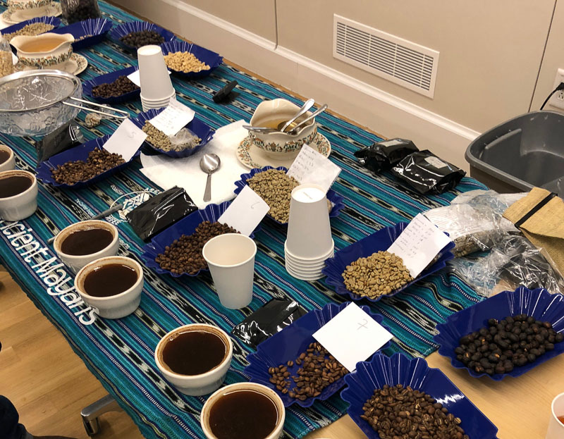 Coffee, coffee beans, and products on the tasting table