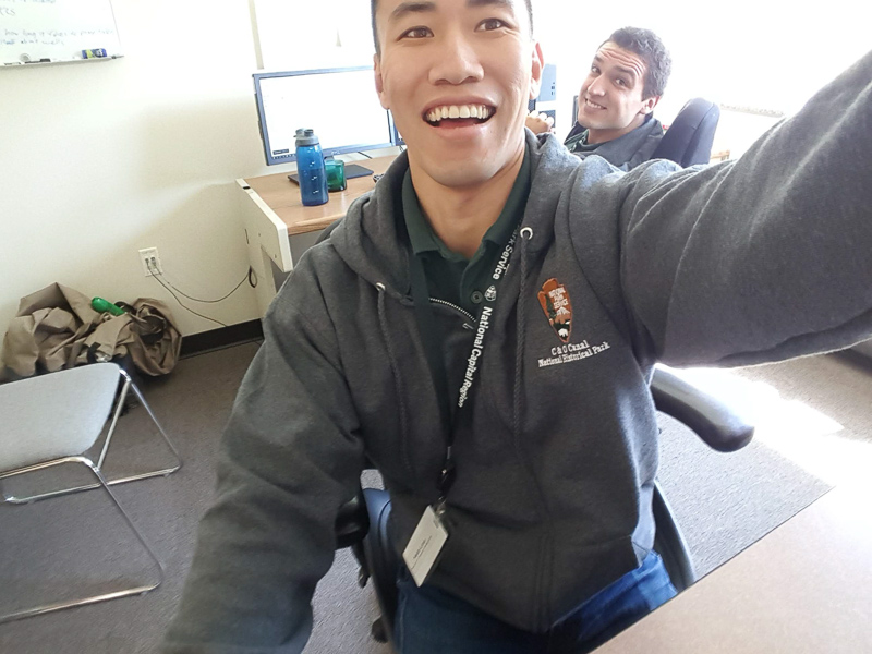 Keith taking a selfie with a co-worker