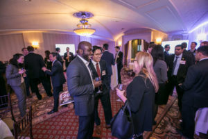 Guests mingling during a reception