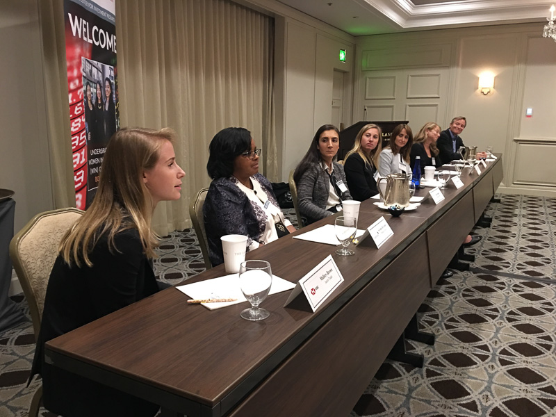 Panel of women addressing the room