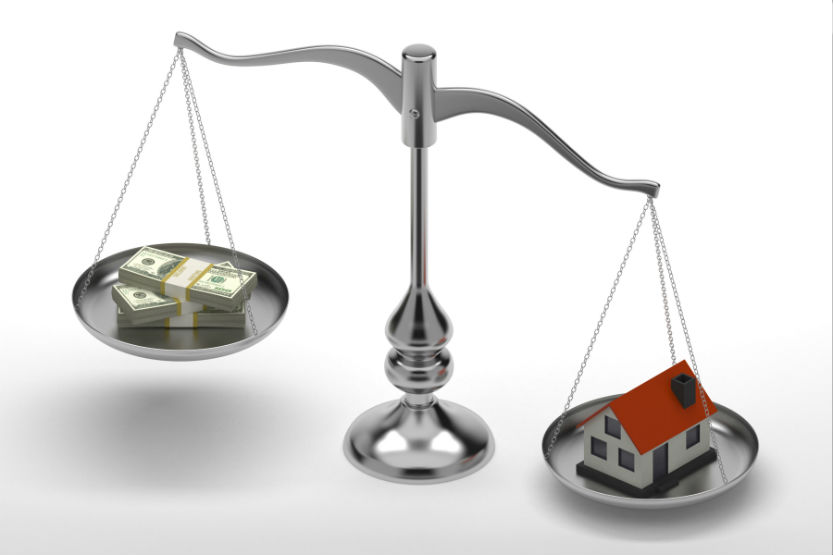 Scale balancing financial investment with real estate properties