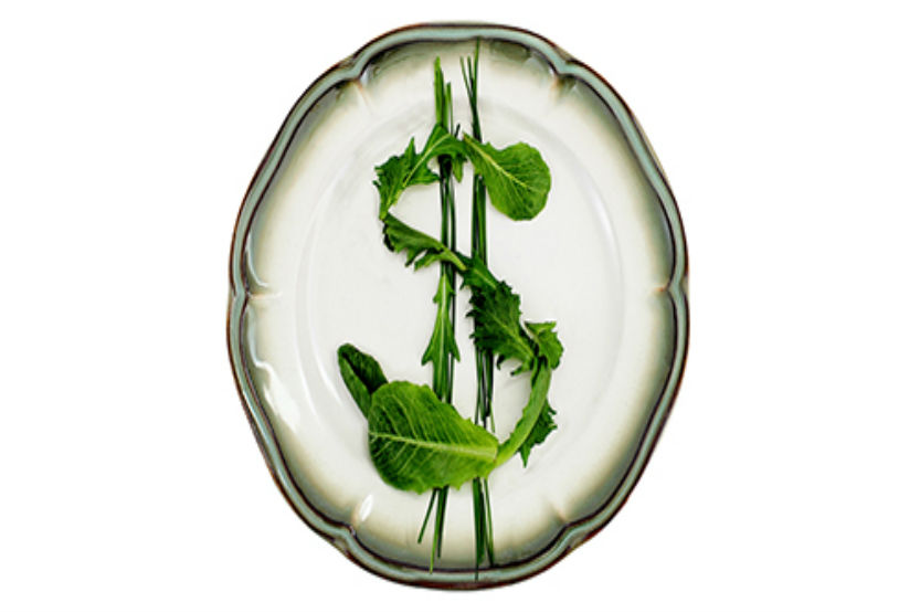 Salad greens in a dollar sign on dinner plate