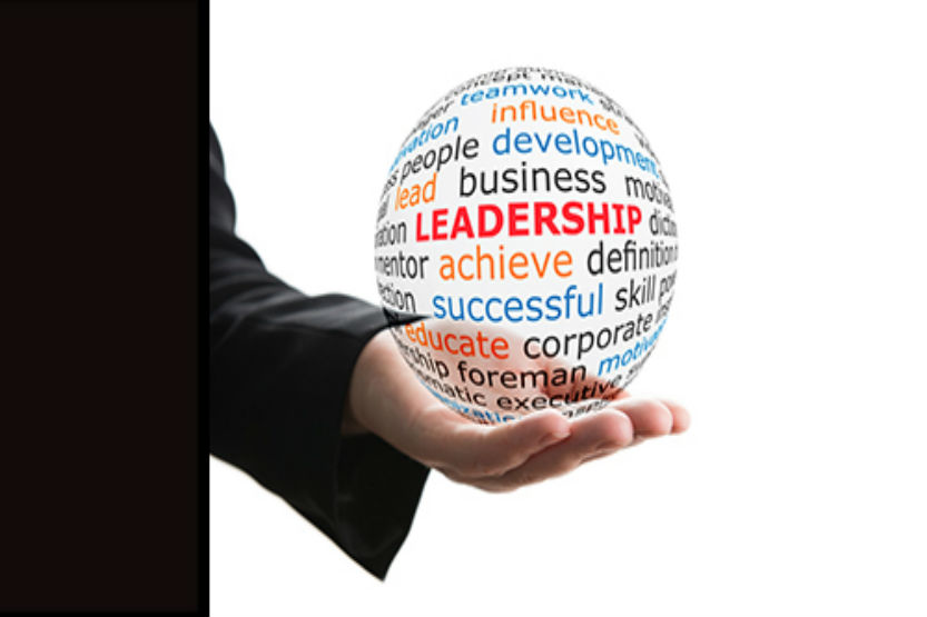 hand holding a ball with leadership word on it