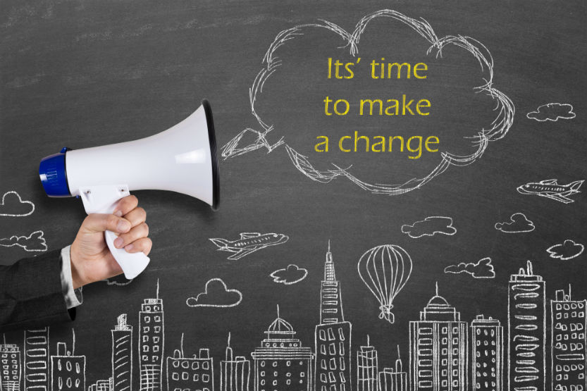 Megaphone saying Its Time to Make Change
