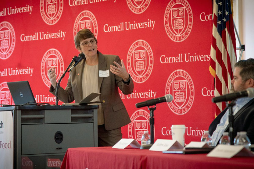 Professor Christine Smart, director of the School of Integrative Plant Science, moderates a panel discussion about ecosystems of innovation at the New York Loves Food II conference Nov. 13 at Cornell AgriTech.