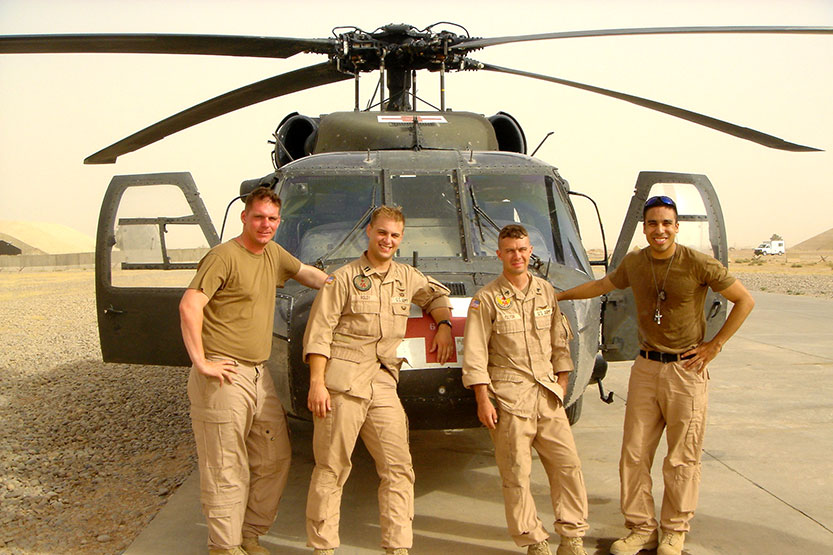 Anthony Garcia with Helicopter Crew