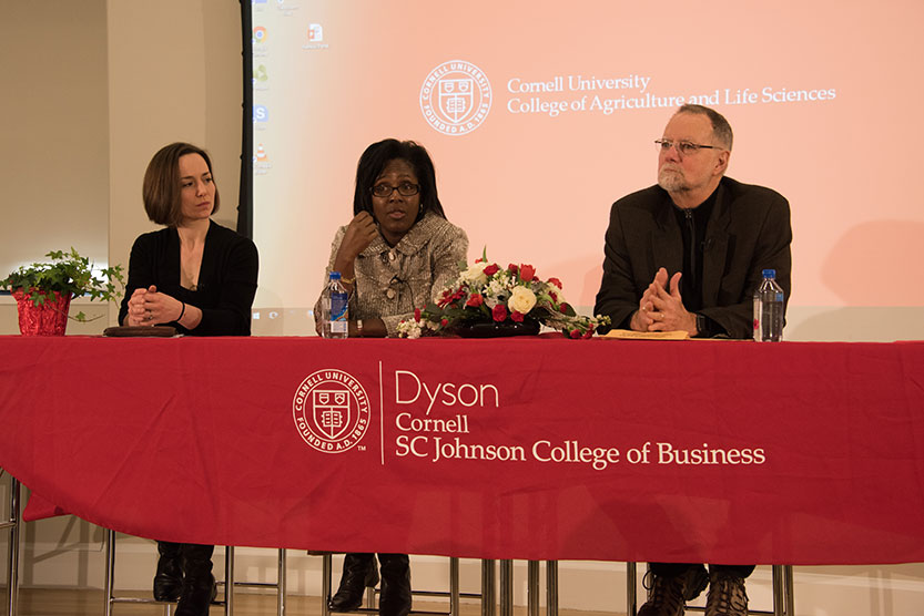 Left to right: Eva Steiner, assistant professor of real estate, School of Hotel Administration; Lynn Wooten, David J. Nolan Dean and professor of management and organizations,Charles H. Dyson School of Applied Economics and Management;Robert H. Frank,Henrietta Johnson Louis Professor of Management and professor of economics,Samuel Curtis Johnson Graduate School of Management.
