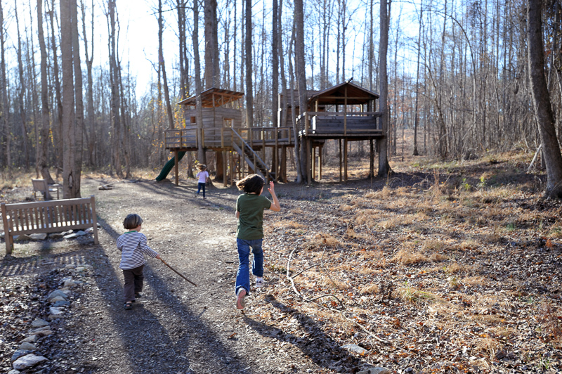 Children playing near the treehouse