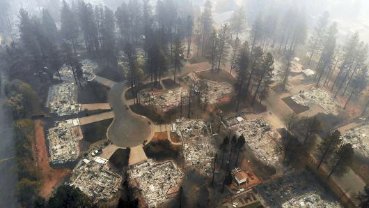 Aerial view of wildfire damage