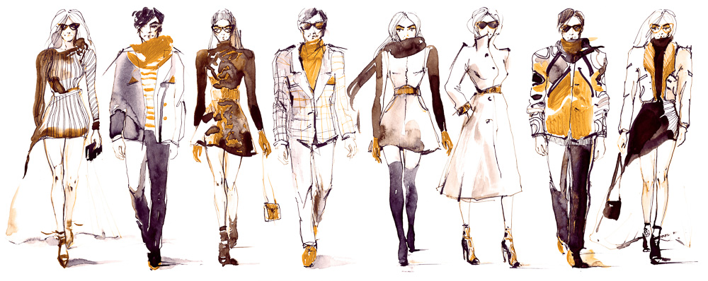 Illustration of eight fashion models side by side