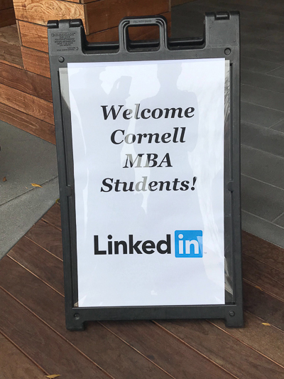 LinkedIn sign that reads Welcome Cornell MBA Students!