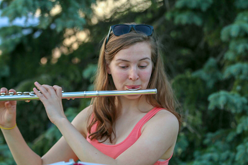 Andrea playing the flute