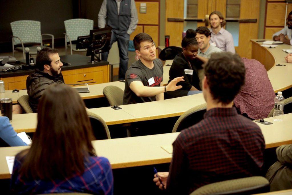 Donnie Hampton talks to students