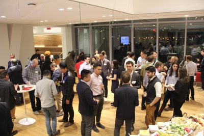 BRV Annual Meeting attendees network at the Cornell Tech space on Roosevelt Island, NYC