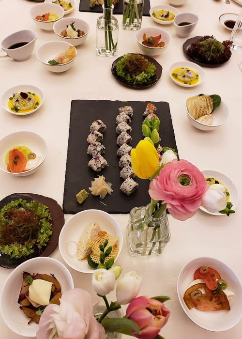 Table setting with sushi