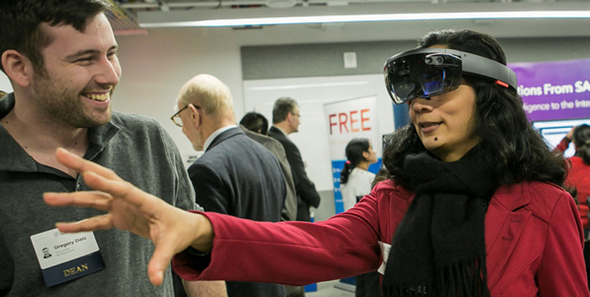 woman wearing an augmented reality headset