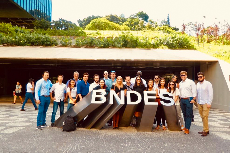 A group standing outside BNDES