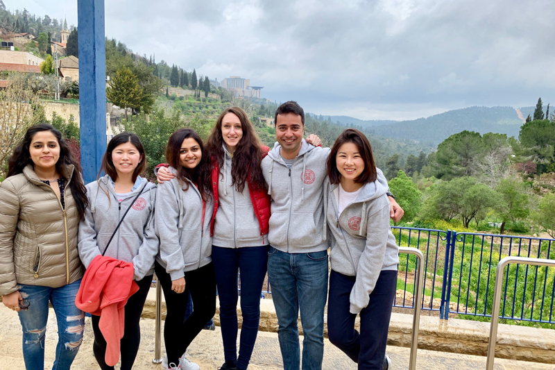 Five students overlooking Jerusalem
