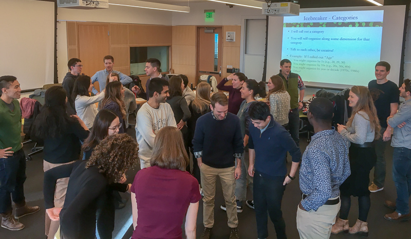 Students interacting during an icebreaker