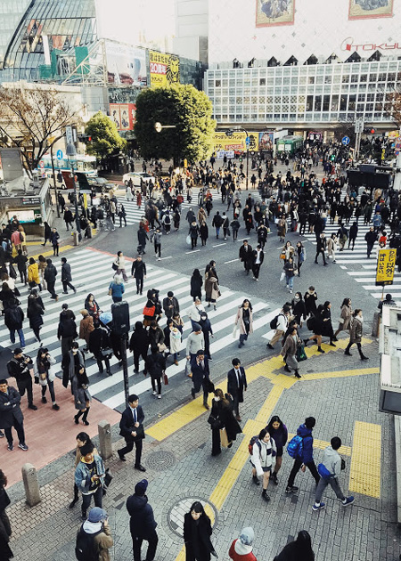 Crowd scattered across Tokyo intersection