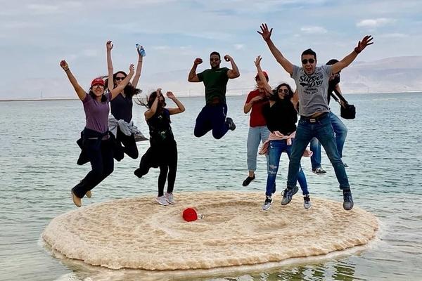Students exploring the Dead Sea
