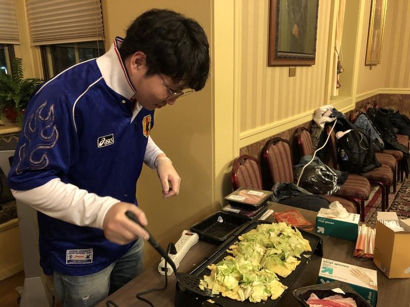 Student preparing food