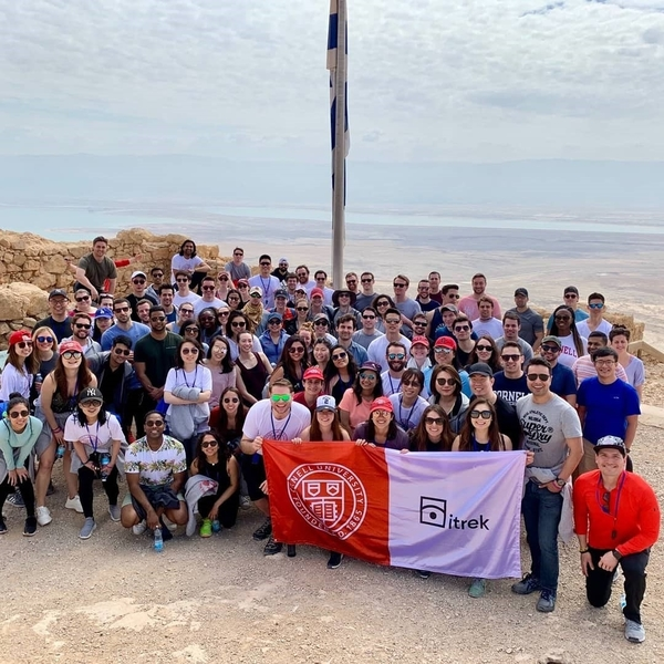 Trek participants posing for a photo in Israel
